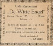 advertentie - Cafe Restaurant De Witte Engel