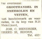 advertentie - Joh. C. Hendriks